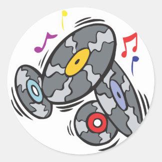 old school vinyl records round sticker