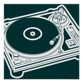 Old School Wax Turntable Poster