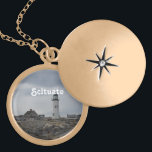 """Old Scituate Lighthouse Gold Finish Necklace<br><div class=""""desc"""">Rugged coast with Old Scituate Lighthouse in Scituate,  Massachusetts.</div>"""