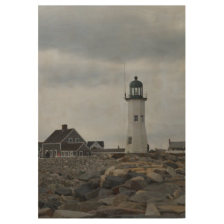 Old Scituate Lighthouse Wood Poster