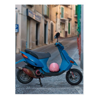 Old Scooter in Italy | Blue scooter | Postcard