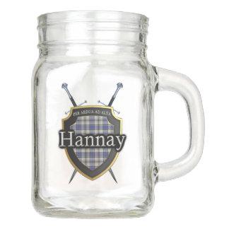 Old Scotland Clan Hannay Tartan Crossed Swords Mason Jar
