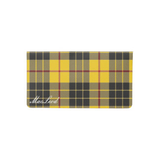 Old Scots Clan MacLeod of Lewis Tartan Plaid Checkbook Cover