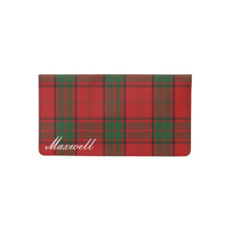 Old Scots Clan Maxwell Tartan Plaid Checkbook Cover