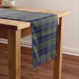 Old Scottish Clan MacLaren Tartan Plaid Short Table Runner