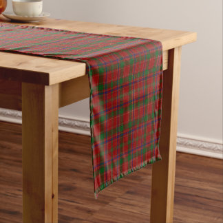 Old Scottish Clan Munro Tartan Plaid Short Table Runner