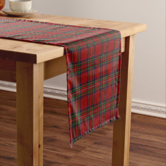 Old Scottish Clan Stewart Royal Red Tartan Plaid Short Table Runner