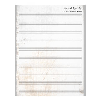 Old Scratched Blank Sheet Music 10 Stave Letterhead Design