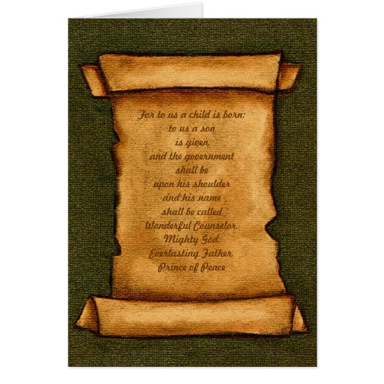 Old Scroll: Scripture, Bible: Isaiah, Christmas Card