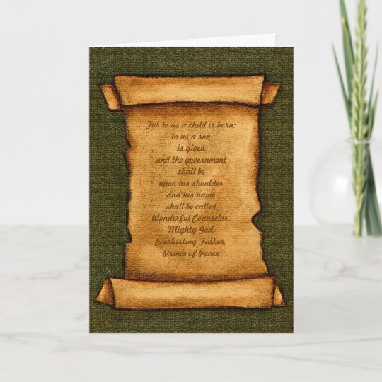 Old Scroll Scripture Bible Isaiah Christmas Holiday Card