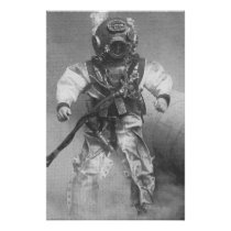 old scuba diver pic black and white poster