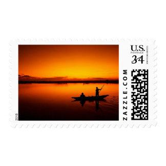 Old Sea Fishing Ship at Sunset Nautical Stamp