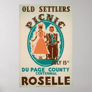Old Settlers Picnic Vintage Poster