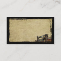 Old Sewing Machine & Fabric- Prim Biz Cards