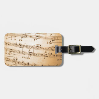 Old Sheet Music Luggage Tag