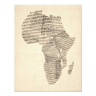 Old Sheet Music Map of Africa Map Card