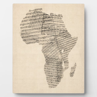 Old Sheet Music Map of Africa Map Photo Plaques