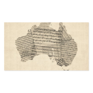 Old Sheet Music Map of Australia Map Business Card