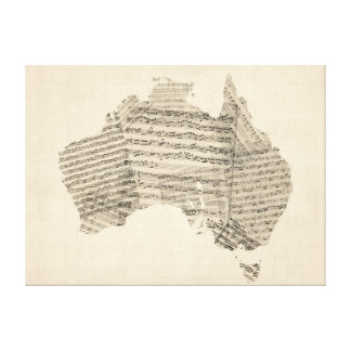 Old Sheet Music Map of Australia Map Gallery Wrapped Canvas