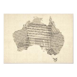 Old Sheet Music Map of Australia Map Card