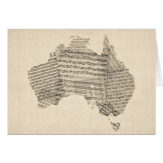 Old Sheet Music Map of Australia Map Card