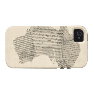 Old Sheet Music Map of Australia Map Case-Mate iPhone 4 Cases