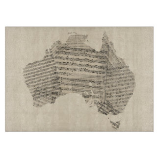Old Sheet Music Map of Australia Map Cutting Board