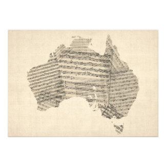 Old Sheet Music Map of Australia Map Personalized Invites