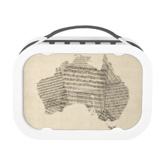 Old Sheet Music Map of Australia Map Lunch Boxes