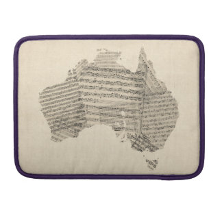 Old Sheet Music Map of Australia Map MacBook Pro Sleeve