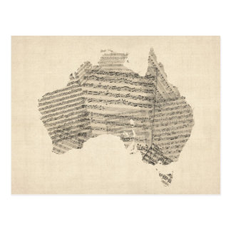 Old Sheet Music Map of Australia Map Postcards