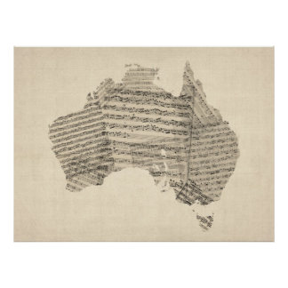 Old Sheet Music Map of Australia Map Posters