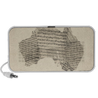 Old Sheet Music Map of Australia Map iPhone Speaker