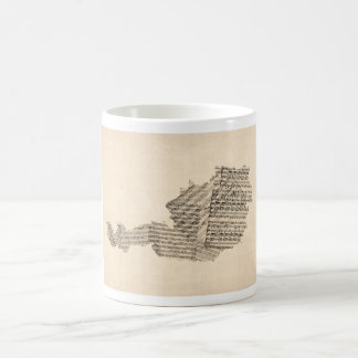 Old Sheet Music Map of Austria Map Coffee Mug