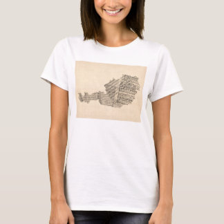 Old Sheet Music Map of Austria Map T-Shirt
