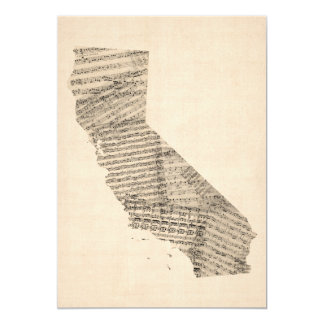 Old Sheet Music Map of California 5x7 Paper Invitation Card