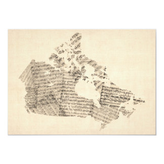 Old Sheet Music Map of Canada Map Card
