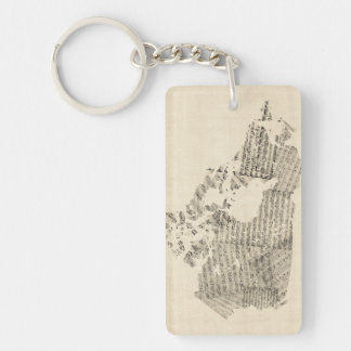 Old Sheet Music Map of Canada Map Keychain
