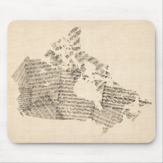 Old Sheet Music Map of Canada Map Mouse Pad