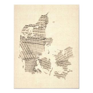 Old Sheet Music Map of Denmark Card