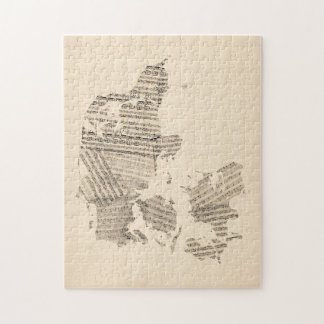 Old Sheet Music Map of Denmark Jigsaw Puzzles