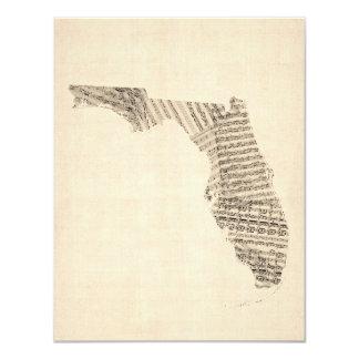Old Sheet Music Map of Florida Card