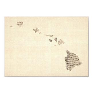 Old Sheet Music Map of Hawaii Card
