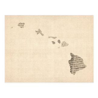 Old Sheet Music Map of Hawaii Postcard