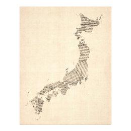 Old Sheet Music Map of Japan