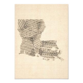 Old Sheet Music Map of Louisiana Card