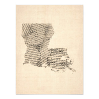 Old Sheet Music Map of Louisiana Photograph