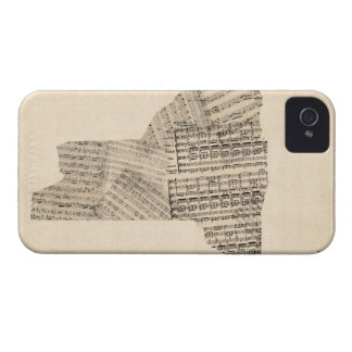 Old Sheet Music Map of New York State iPhone 4 Case-Mate Case