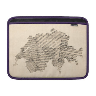 Old Sheet Music Map of Switzerland Map MacBook Sleeve