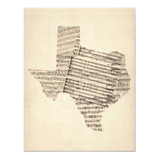 Old Sheet Music Map of Texas Card
